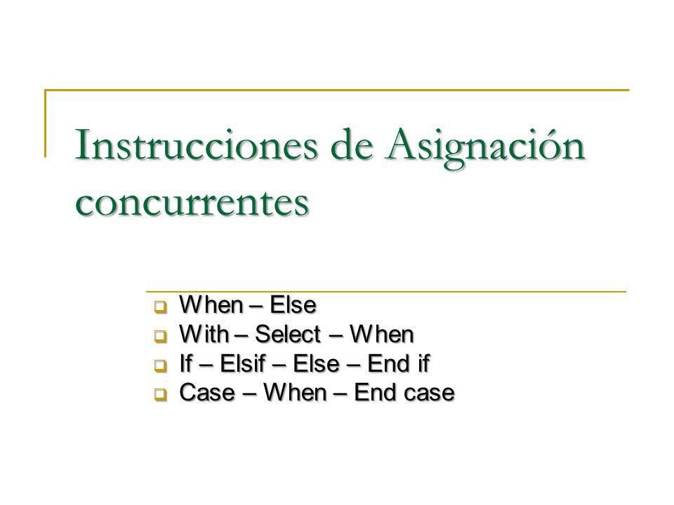 Instrucciones de Asignación concurrentes