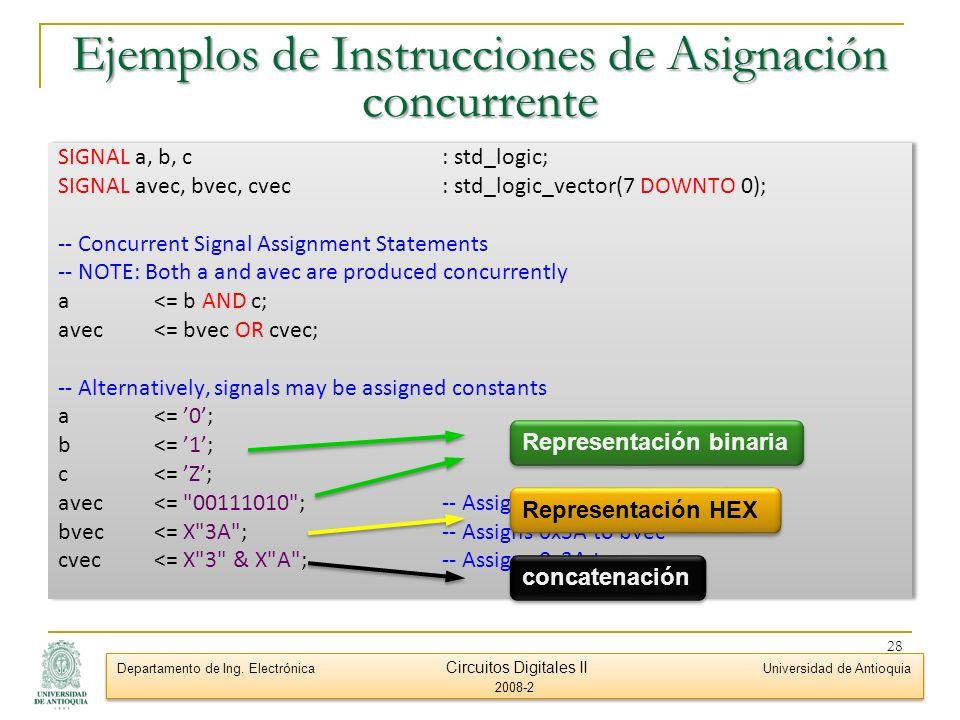 Ejemplos de Instrucciones de Asignación concurrente