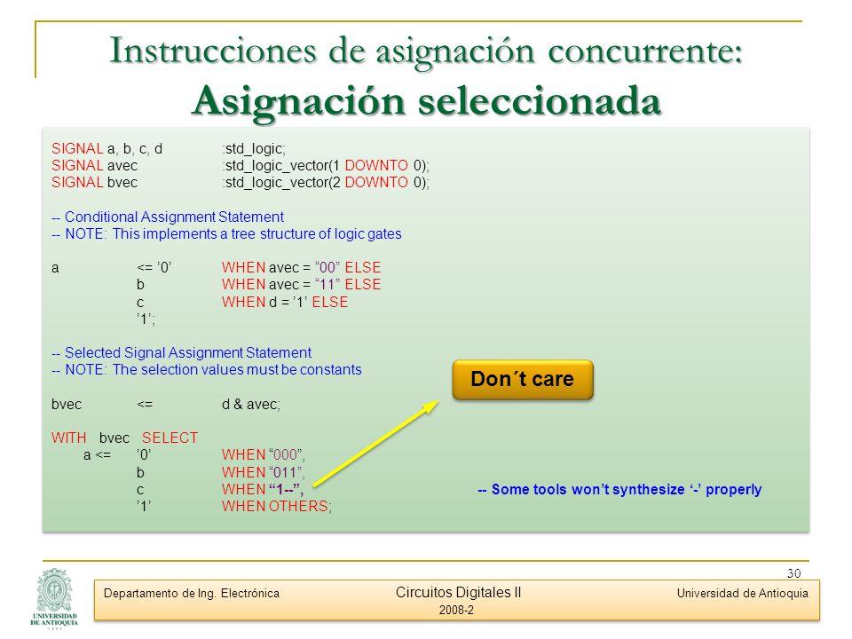 Instrucciones de asignación concurrente: Asignación seleccionada