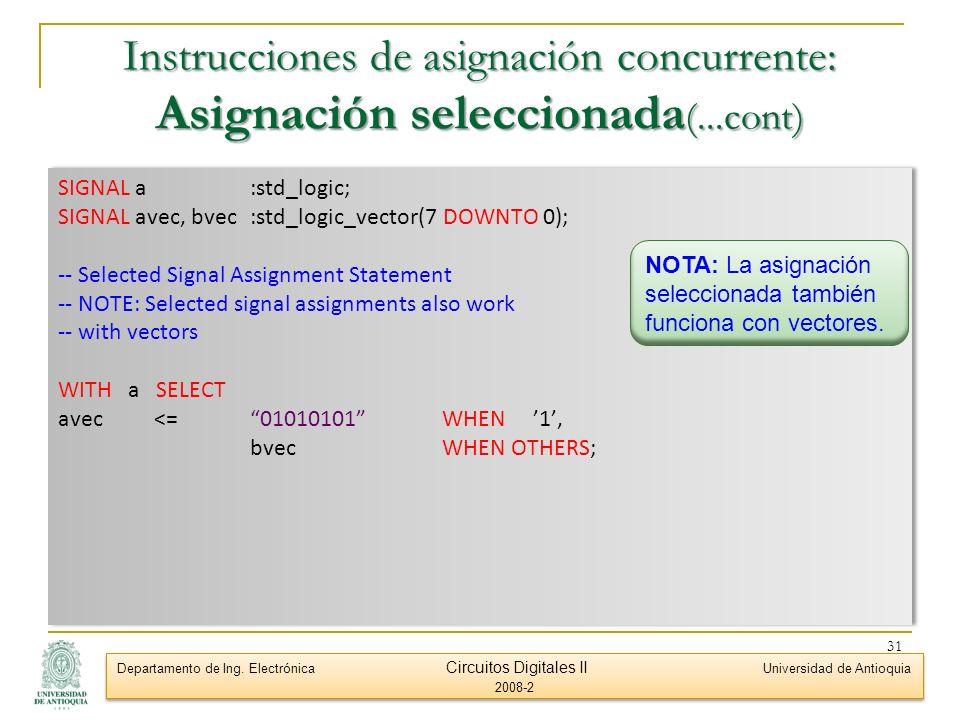 Instrucciones de asignación concurrente: Asignación seleccionada(