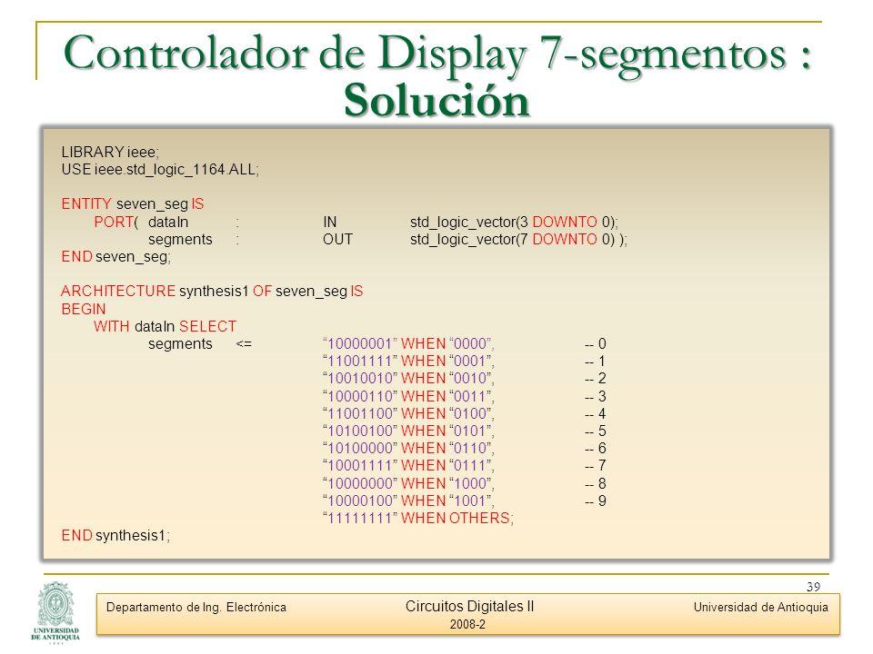 Controlador de Display 7-segmentos : Solución