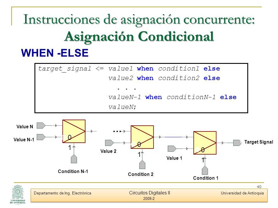 Instrucciones de asignación concurrente: Asignación Condicional