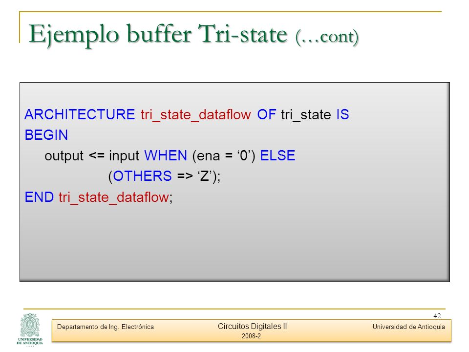 Ejemplo buffer Tri-state (…cont)