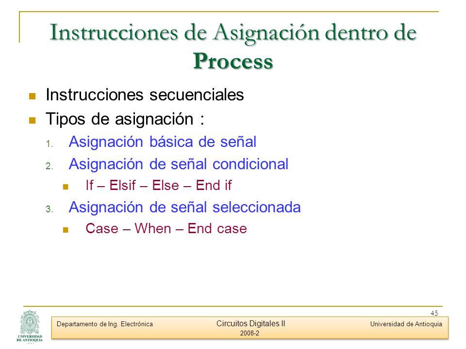 Instrucciones de Asignación dentro de Process