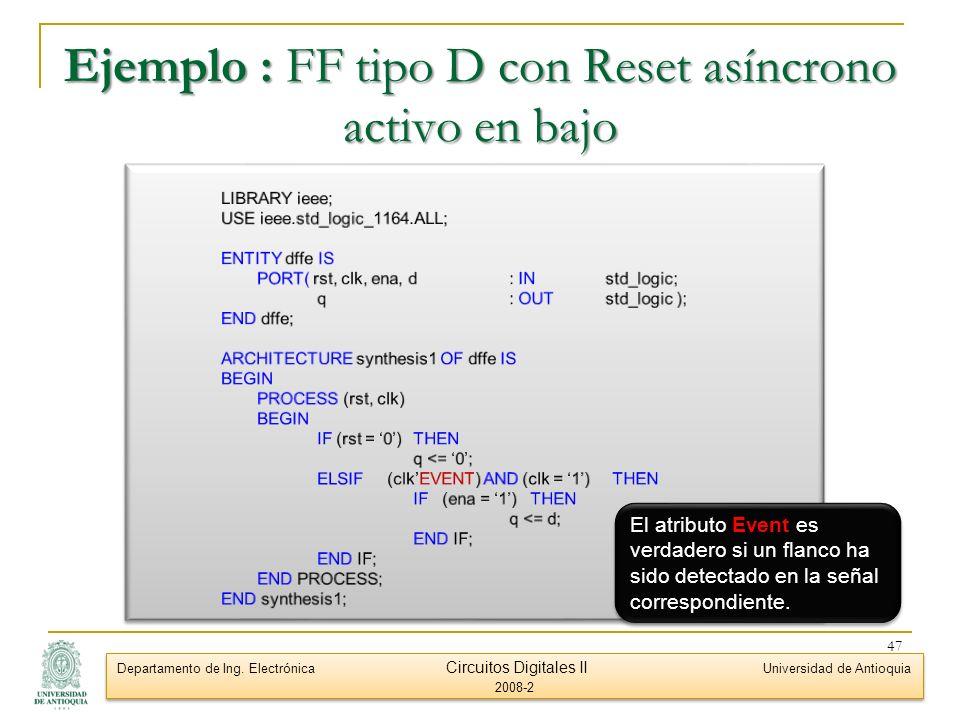 Ejemplo : FF tipo D con Reset asíncrono activo en bajo