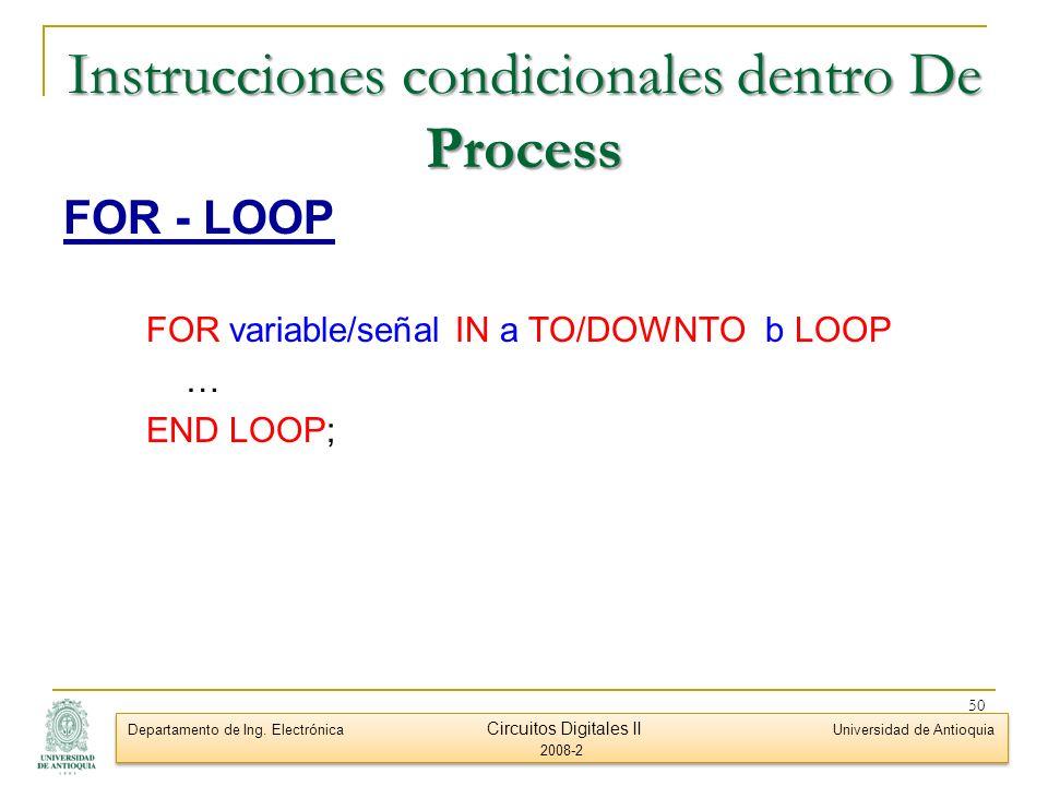 Instrucciones condicionales dentro De Process