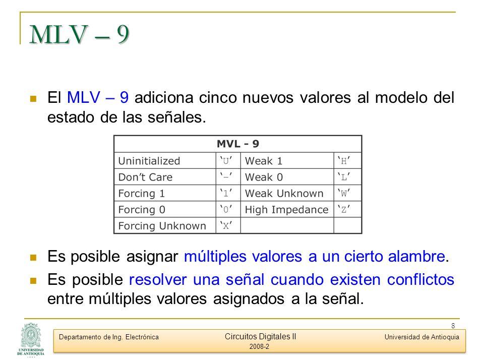 MLV – 9 El MLV – 9 adiciona cinco nuevos valores al modelo del estado de las señales. Es posible asignar múltiples valores a un cierto alambre.