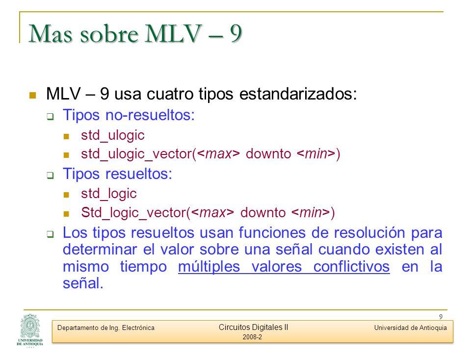 Mas sobre MLV – 9 MLV – 9 usa cuatro tipos estandarizados: