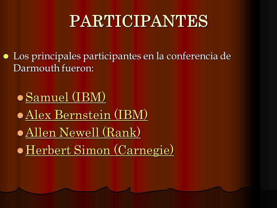 PARTICIPANTES Samuel (IBM) Alex Bernstein (IBM) Allen Newell (Rank)