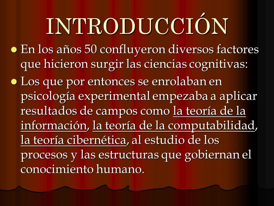 INTRODUCCIÓN En los años 50 confluyeron diversos factores que hicieron surgir las ciencias cognitivas: