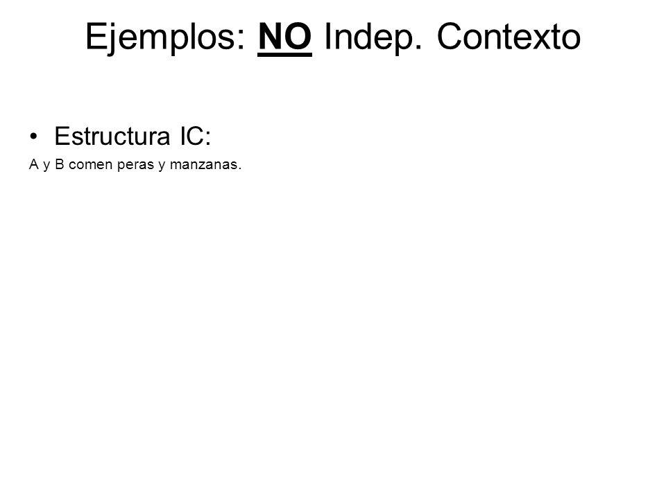 Ejemplos: NO Indep. Contexto
