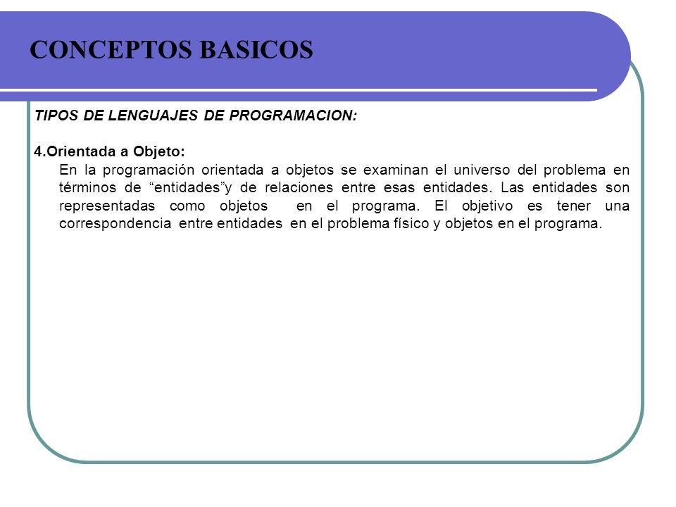 CONCEPTOS BASICOS TIPOS DE LENGUAJES DE PROGRAMACION: