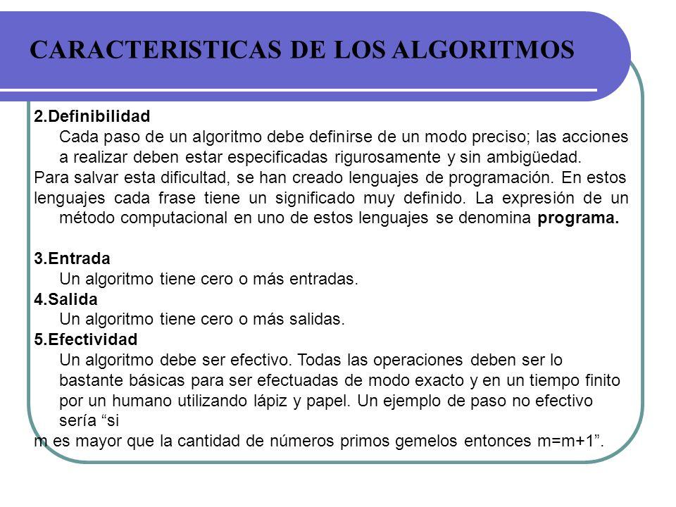 CARACTERISTICAS DE LOS ALGORITMOS