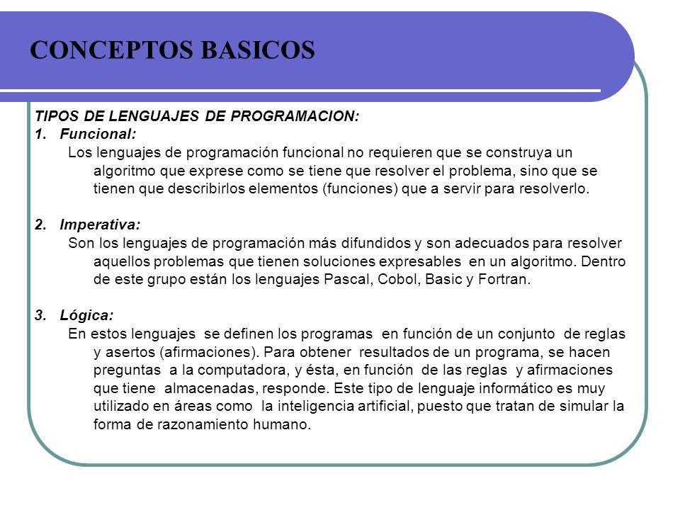 CONCEPTOS BASICOS TIPOS DE LENGUAJES DE PROGRAMACION: Funcional: