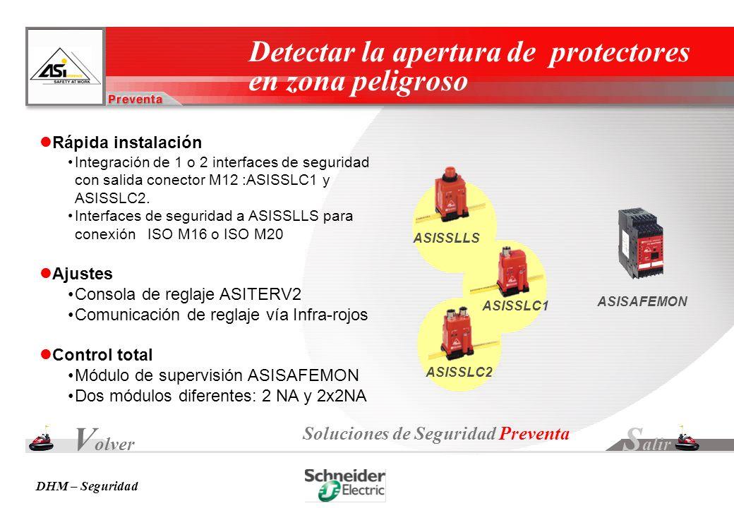 Volver Salir Detectar la apertura de protectores en zona peligroso