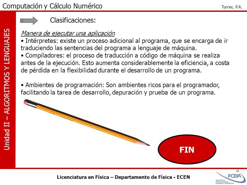 FIN Clasificaciones: Manera de ejecutar una aplicación