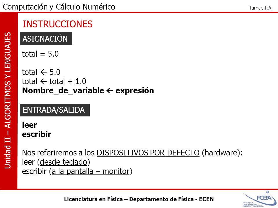 INSTRUCCIONES ASIGNACIÓN total = 5.0 total  5.0 total  total + 1.0