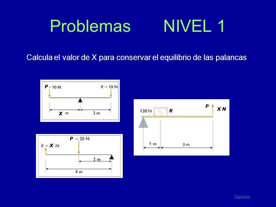 Calcula el valor de X para conservar el equilibrio de las palancas