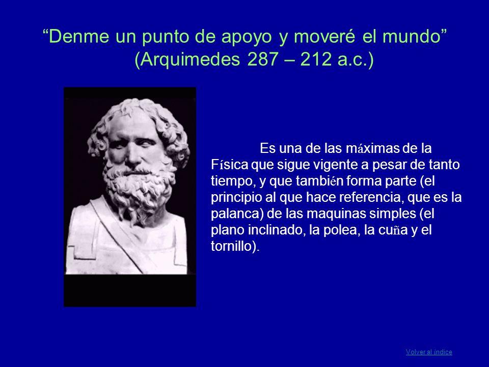 Denme un punto de apoyo y moveré el mundo (Arquimedes 287 – 212 a. c