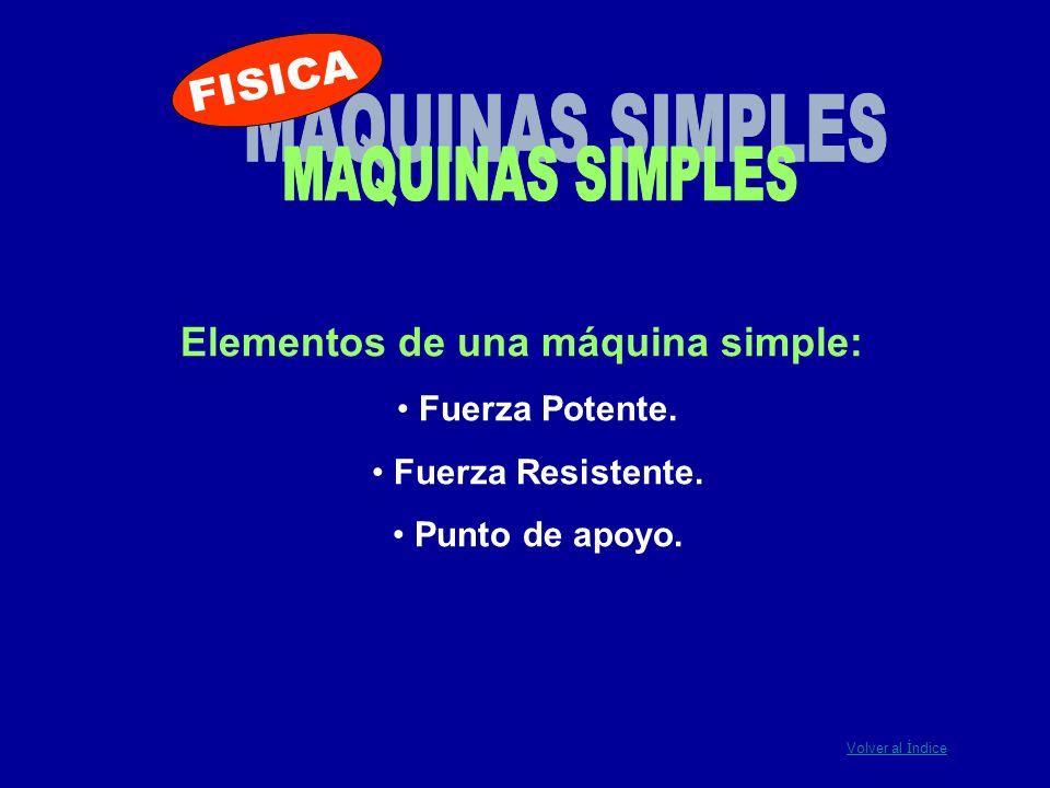 FISICA MAQUINAS SIMPLES Elementos de una máquina simple: