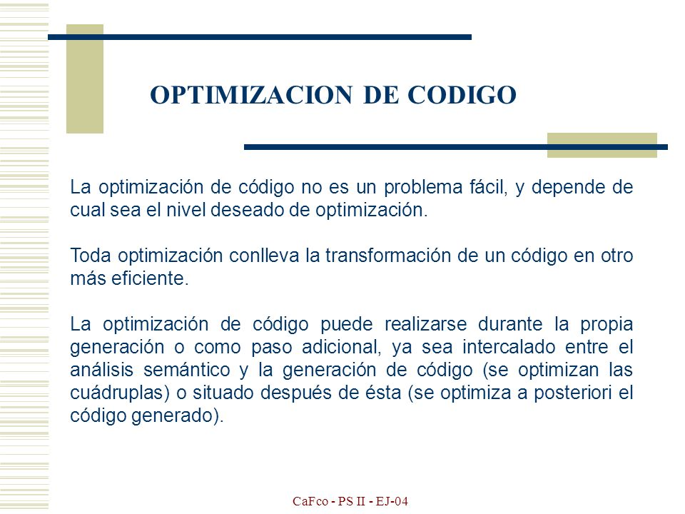 OPTIMIZACION DE CODIGO
