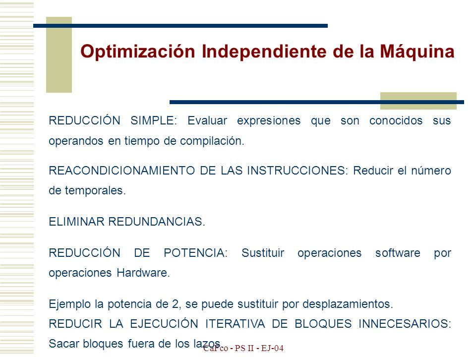 Optimización Independiente de la Máquina