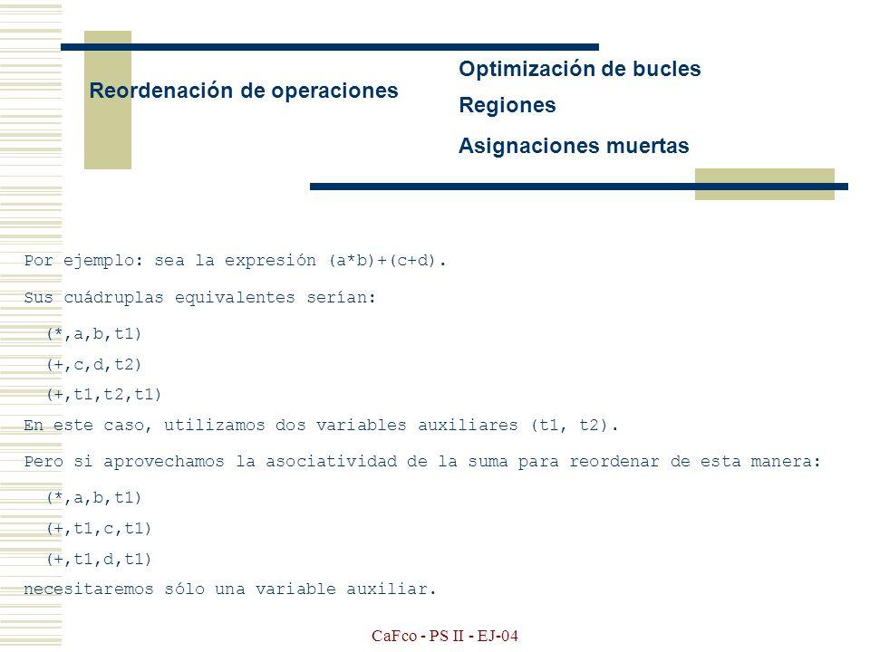 Optimización de bucles Reordenación de operaciones Regiones