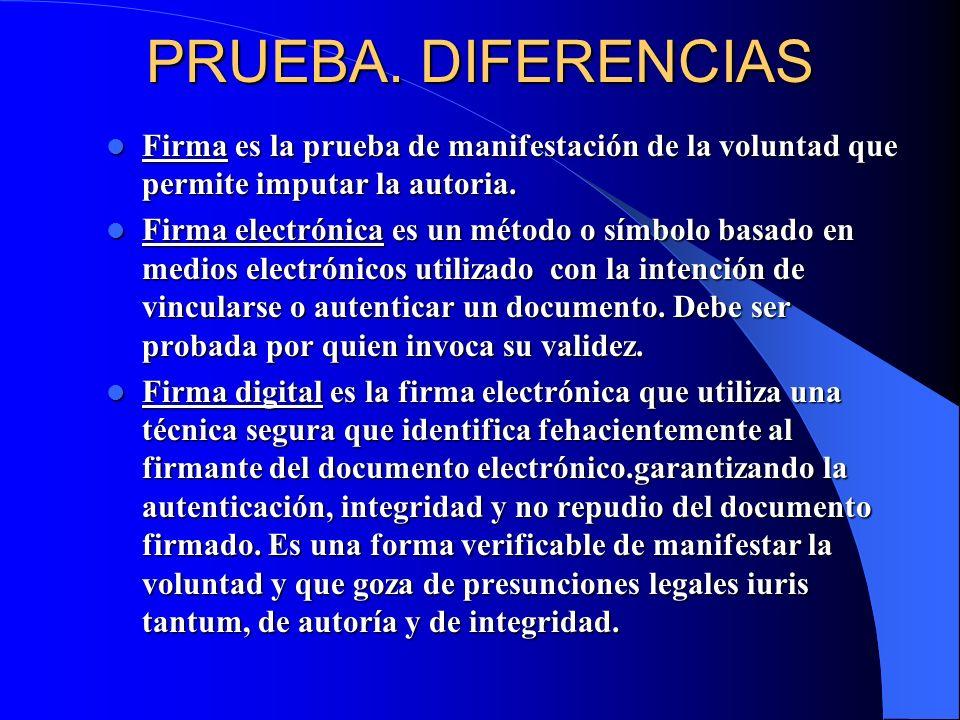 PRUEBA. DIFERENCIAS Firma es la prueba de manifestación de la voluntad que permite imputar la autoria.