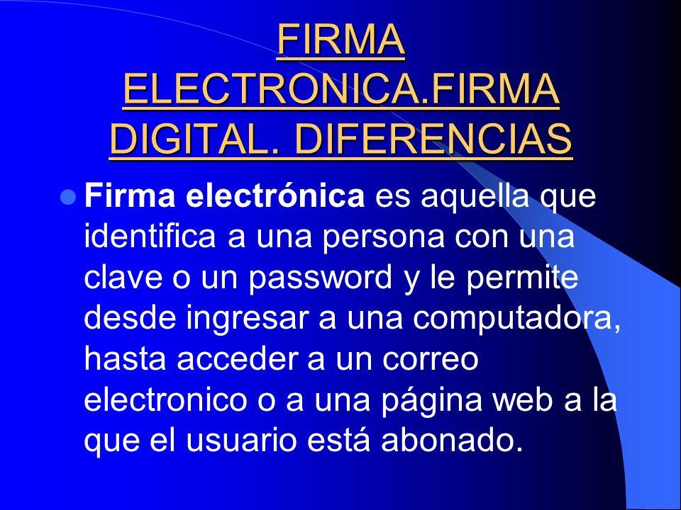 FIRMA ELECTRONICA.FIRMA DIGITAL. DIFERENCIAS