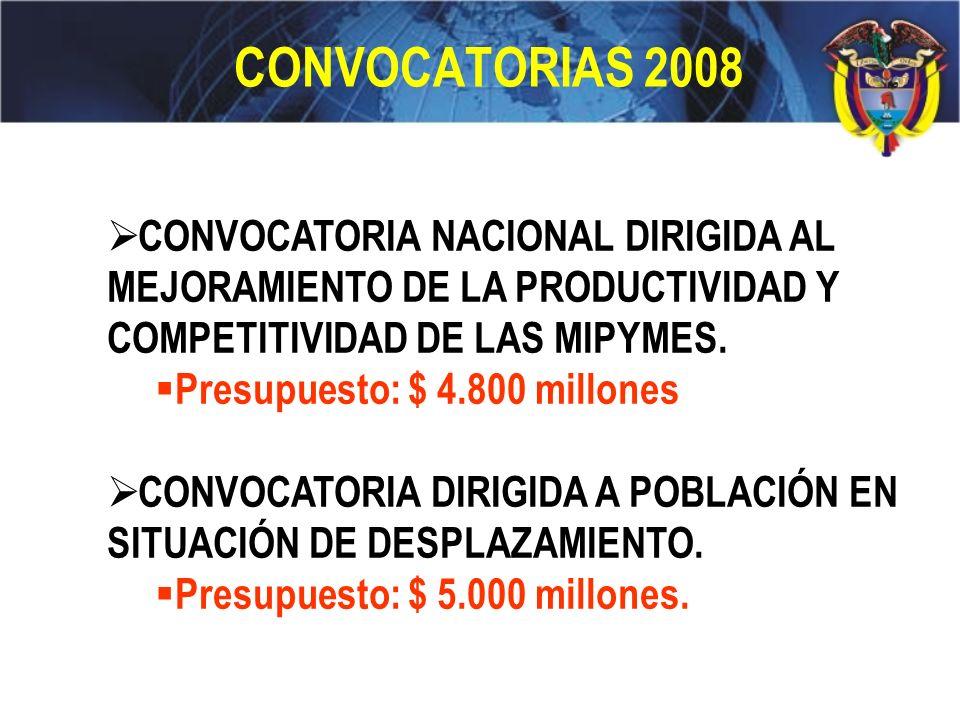 CONVOCATORIAS 2008 CONVOCATORIA NACIONAL DIRIGIDA AL MEJORAMIENTO DE LA PRODUCTIVIDAD Y COMPETITIVIDAD DE LAS MIPYMES.