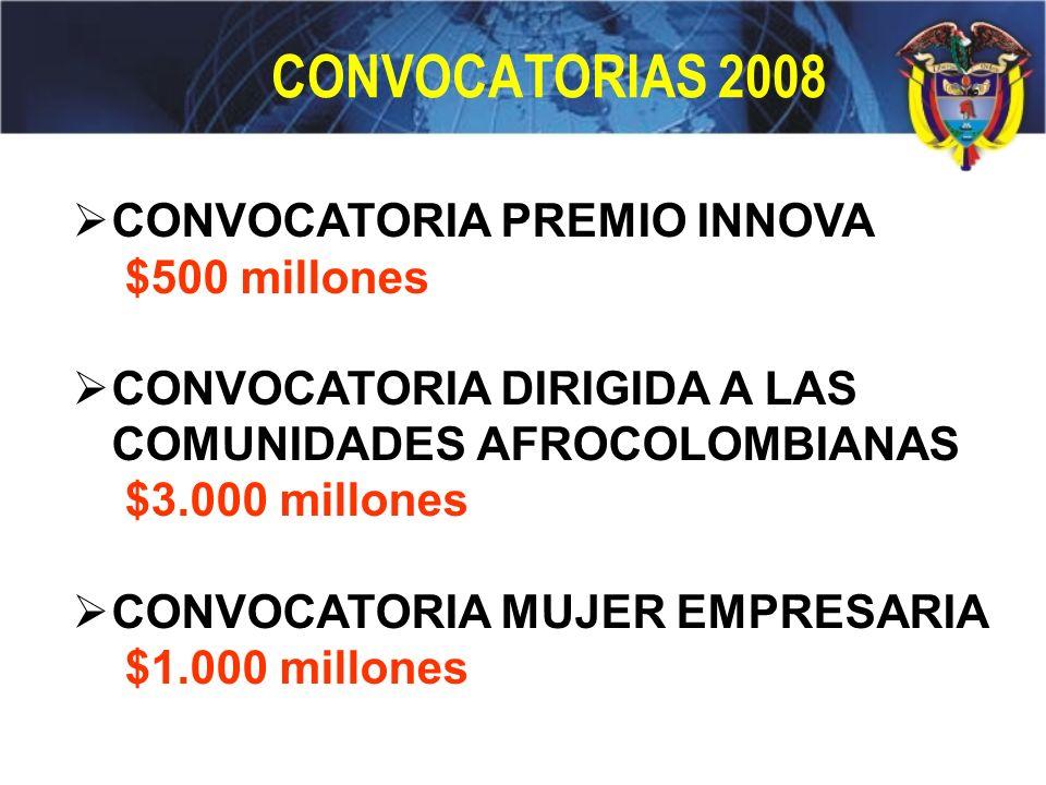 CONVOCATORIAS 2008 CONVOCATORIA PREMIO INNOVA $500 millones