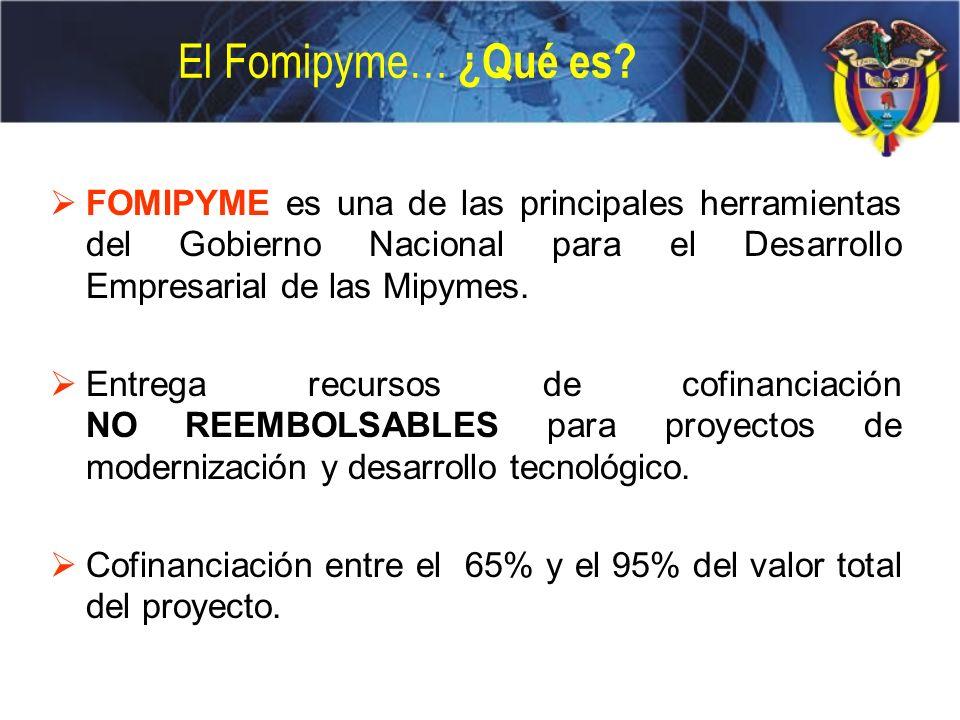 El Fomipyme… ¿Qué es FOMIPYME es una de las principales herramientas del Gobierno Nacional para el Desarrollo Empresarial de las Mipymes.