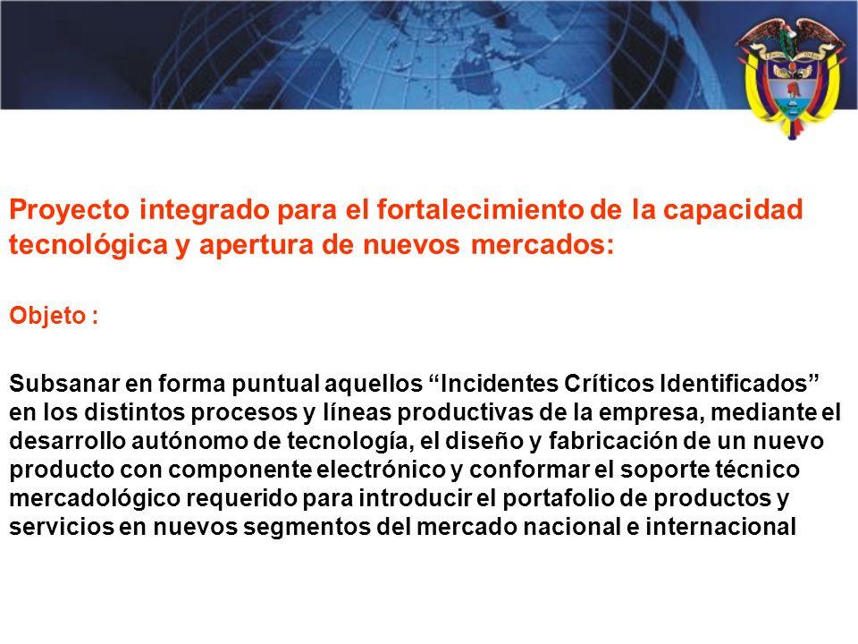 Proyecto integrado para el fortalecimiento de la capacidad tecnológica y apertura de nuevos mercados: