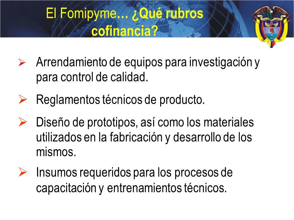 El Fomipyme… ¿Qué rubros cofinancia