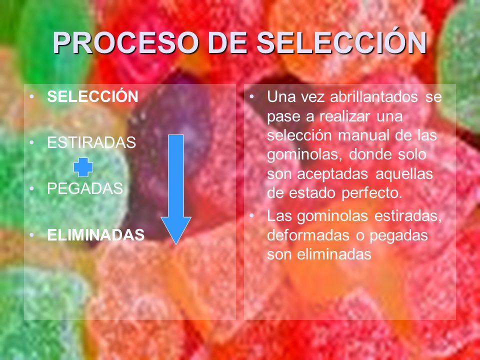 PROCESO DE SELECCIÓN SELECCIÓN ESTIRADAS PEGADAS ELIMINADAS
