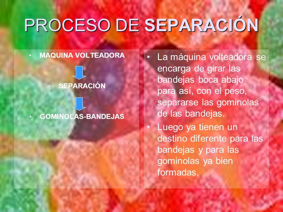PROCESO DE SEPARACIÓN MAQUINA VOLTEADORA. SEPARACIÓN. GOMINOLAS-BANDEJAS.