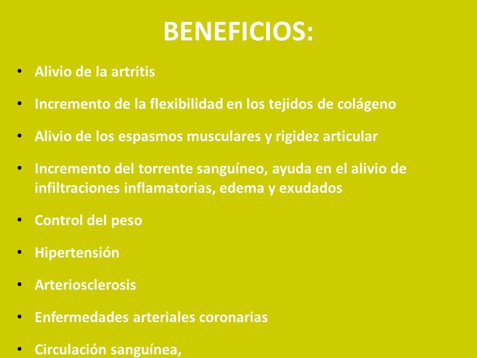 BENEFICIOS: Alivio de la artritis
