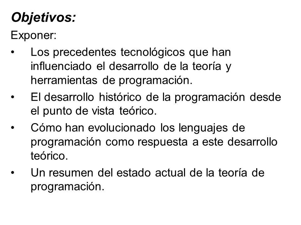 Objetivos: Exponer: Los precedentes tecnológicos que han influenciado el desarrollo de la teoría y herramientas de programación.