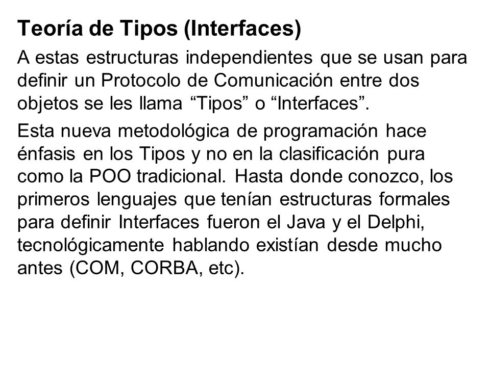Teoría de Tipos (Interfaces)