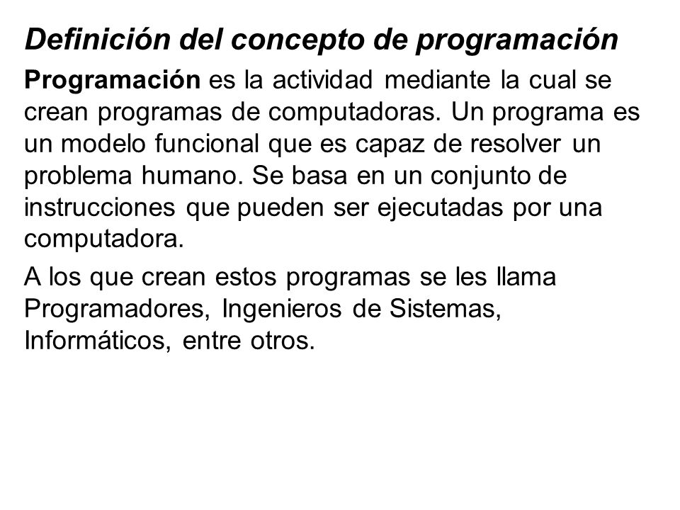 Definición del concepto de programación