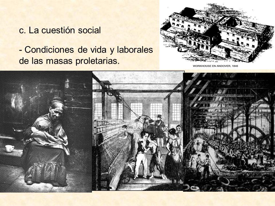 - Condiciones de vida y laborales de las masas proletarias.