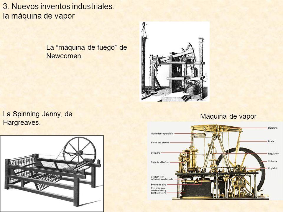 3. Nuevos inventos industriales: la máquina de vapor