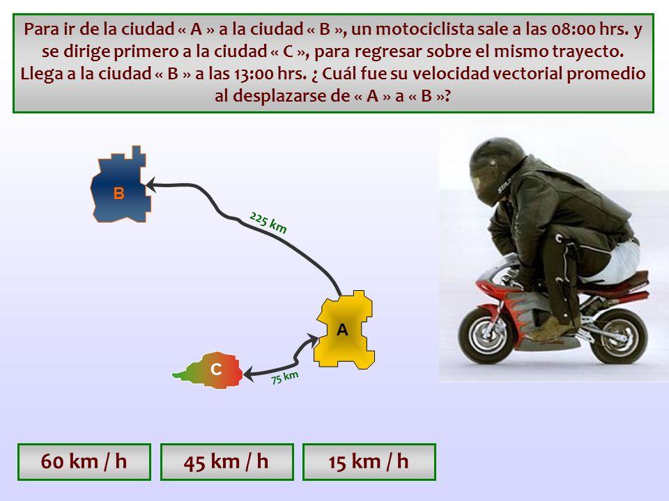 Para ir de la ciudad « A » a la ciudad « B », un motociclista sale a las 08:00 hrs. y se dirige primero a la ciudad « C », para regresar sobre el mismo trayecto. Llega a la ciudad « B » a las 13:00 hrs. ¿ Cuál fue su velocidad vectorial promedio al desplazarse de « A » a « B »