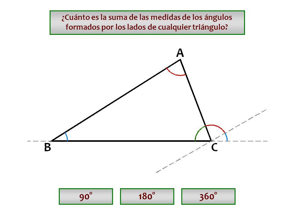 ¿Cuánto es la suma de las medidas de los ángulos formados por los lados de cualquier triángulo
