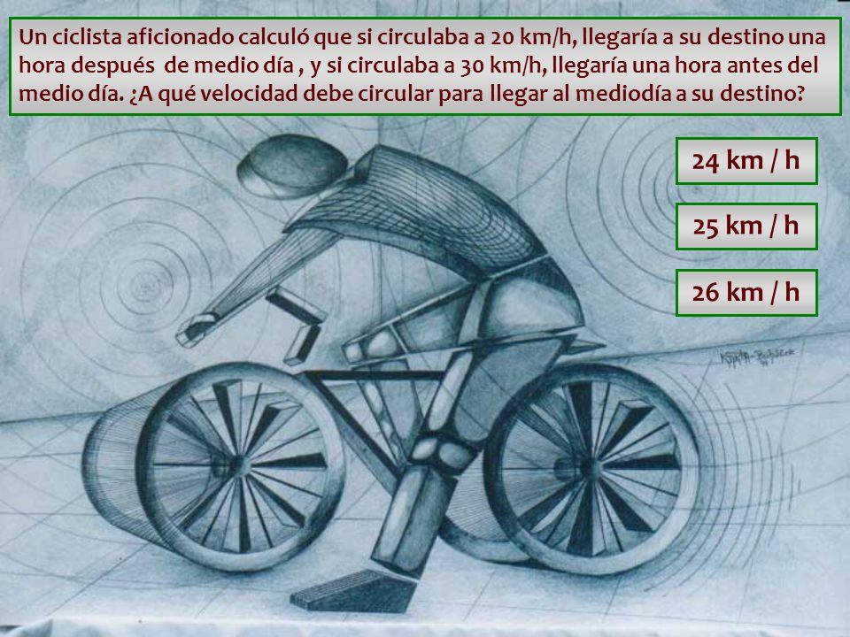 Un ciclista aficionado calculó que si circulaba a 20 km/h, llegaría a su destino una hora después de medio día , y si circulaba a 30 km/h, llegaría una hora antes del medio día. ¿A qué velocidad debe circular para llegar al mediodía a su destino