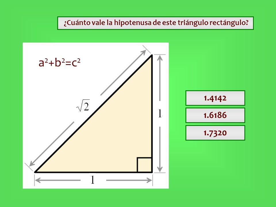¿Cuánto vale la hipotenusa de este triángulo rectángulo