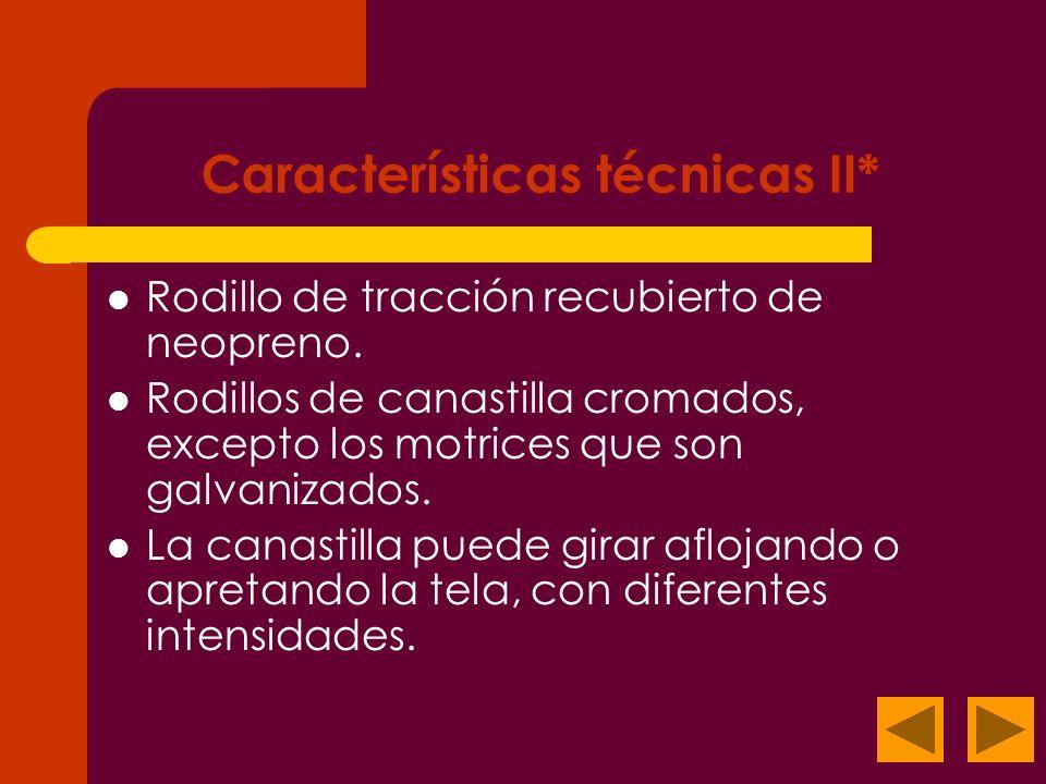Características técnicas II*