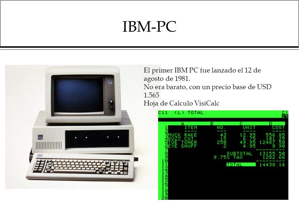 IBM-PC El primer IBM PC fue lanzado el 12 de agosto de 1981.