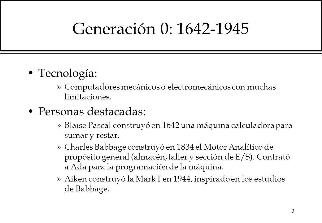 Generación 0: 1642-1945 Tecnología: Personas destacadas: