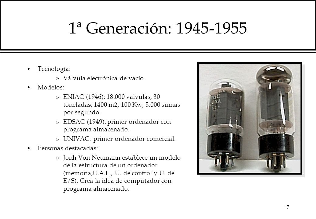 1ª Generación: 1945-1955 Tecnología: Válvula electrónica de vacío.
